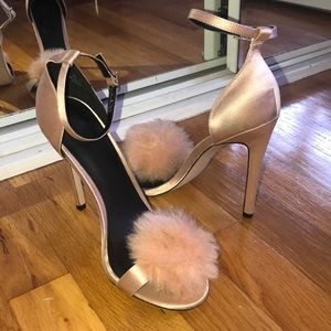 Pink pumps with Pom poms